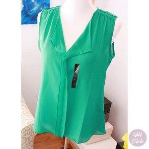Green Sleeveless Top Blouse Banana Republic
